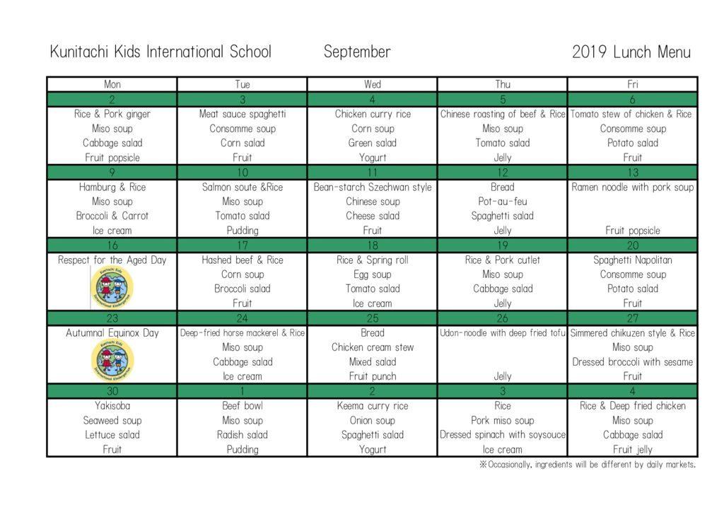 KKIS Lunch Menu September, 2019